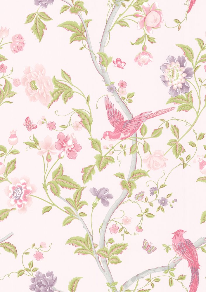 FABRIC PRINT | Summer Palace   Cerise wallpaper by Laura Ashley |