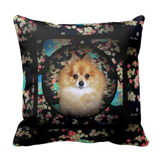 Black Floral Dog Cushion with Pomeranian Marley Pillows