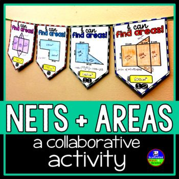 Nets and Composite Figures. In this collaborative activity, students find the areas of nets (rectangular prisms, triangular prisms, square pyramids, triangular pyramids) and composite figures that are made of rectangles and triangles. There is no need to know the formula for the area of a trapezoid to compute any of the areas.