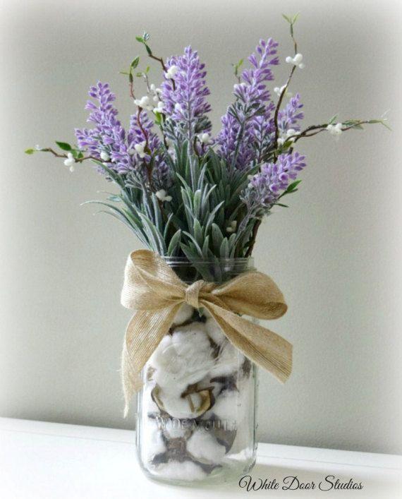 Farmhouse Lavender Arrangement In Cotton Filled Mason Jar
