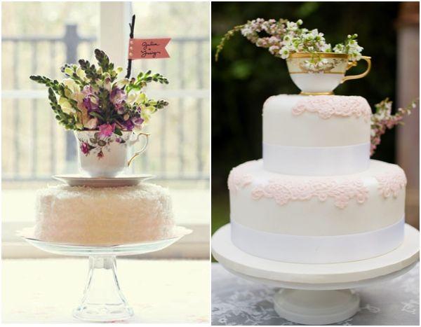 Topes de tortas de boda de tazas de te antiguas - Confesiones de una boda