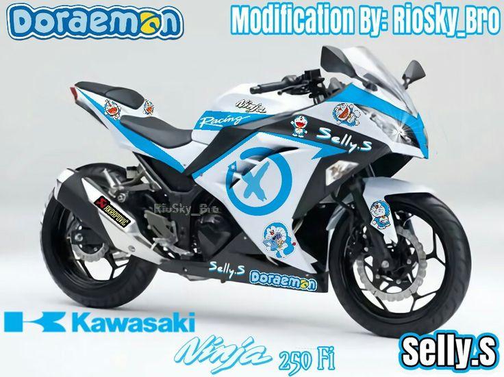 After Modification Theme Doraemon Blue Kawasaki 250Fi