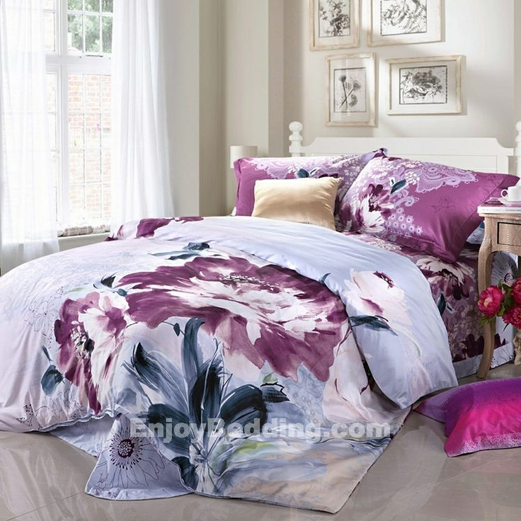 Abstract Flower Print Asian Inspired Bedding Sets ...