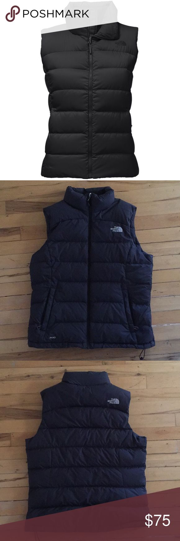 North Face Women's Nuptse Vest M Only worn one Women's North Face Nuptse Vest with 700-fill goose down. In perfect condition! Women's Black Size Medium. Super cute and cozy!!  Sporting an updated fit with sleek quilt lines, the classic Nuptse vest provides lofty, puffed warmth with deep baffles that are stuffed with 700-fill goose down to capture warmth around your torso. The North Face Jackets & Coats Vests
