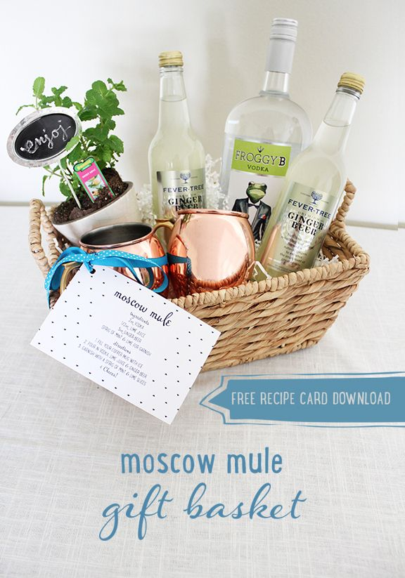 22 best gift baskets images on pinterest creative gifts gift moscow mule gift basket free recipe card download negle Images