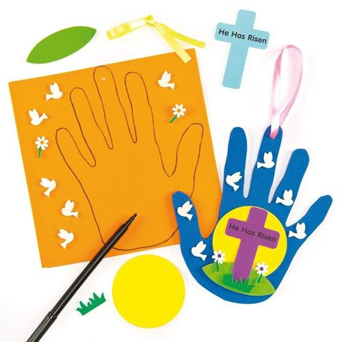 'He Has Risen' Handprint Hanging Decorations Easter Christian children's craft