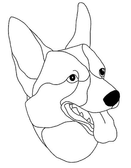 Corgi pattern free sample from Stained Glass Patterns by Jillian Sawyer, from Glass Books