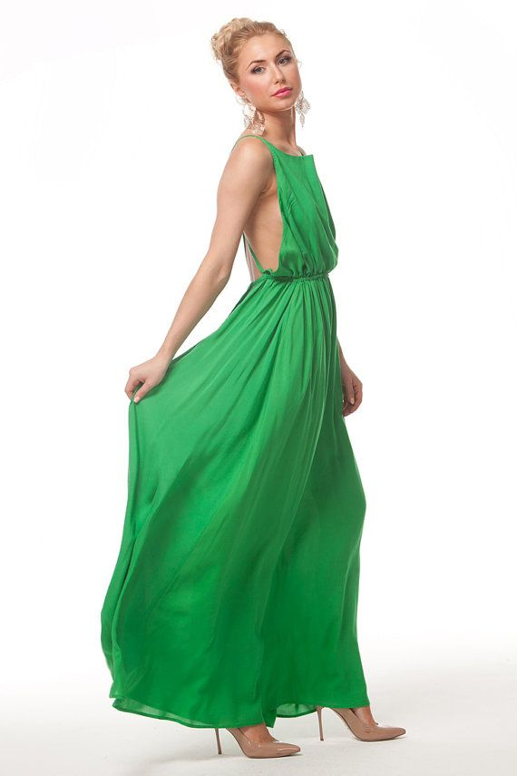 Bright Green Long DressWedding Party Emerald by FashionDress8, $130.00