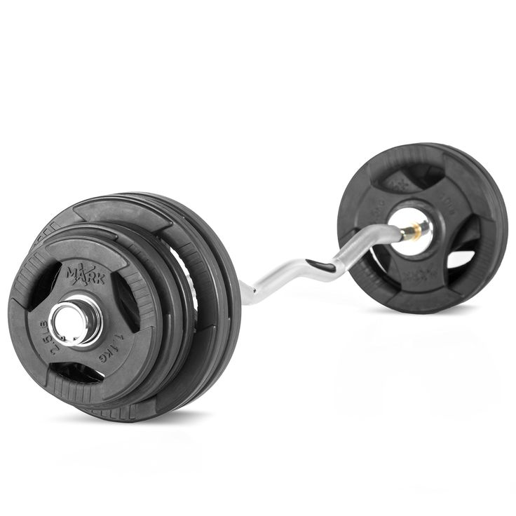 XMark Fitness Olympic EZ Curl Bar With Brass Bushings And 65 lb. Olympic Weight Set Package. This super package includes a XMark 28mm Olympic EZ Curl Bar with brass bushings and a 65 lb. set of Olympic plate weights - Includes (4) 10 lb. (4) 5 lb. and (2) 2.5 lb. (NOTE: SPRING COLLARS/CLAMPS NOT INCLUDED). With a 400 lb. weight capacity, this XMark Olympic EZ curl bar has chrome sleeves, 28mm grip with medium knurling and copper bushings. Customers describe XMark plate weights as...