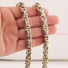 """Unique Jewelry - Charm 22"""" 8mm Byzantine Chain Stainless Steel Men's Jewelry Necklace Silver Gold"""