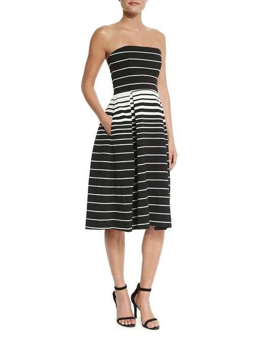 Love the N Nicholas Corsica Multi-Stripe Ball Dress, Black/White on Wantering.