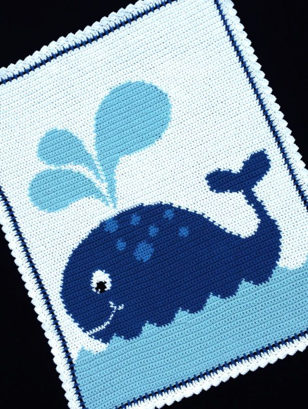 Crochet Patterns - WHALE Graph/Chart Afghan Pattern