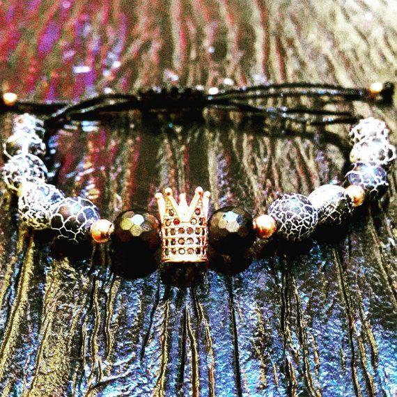 Onyx & Electric Agate Halloween Bracelet 18k by SilversandStones