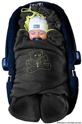 """ByBoom® - Baby Winter-Einschlagdecke """"Das Original mit dem Bären"""", Universal für Babyschale, Autositz, z.B. für Maxi-Cosi, Römer, für Kinderwagen, Buggy oder Babybett, Farbe:Schwarz/Limette"""