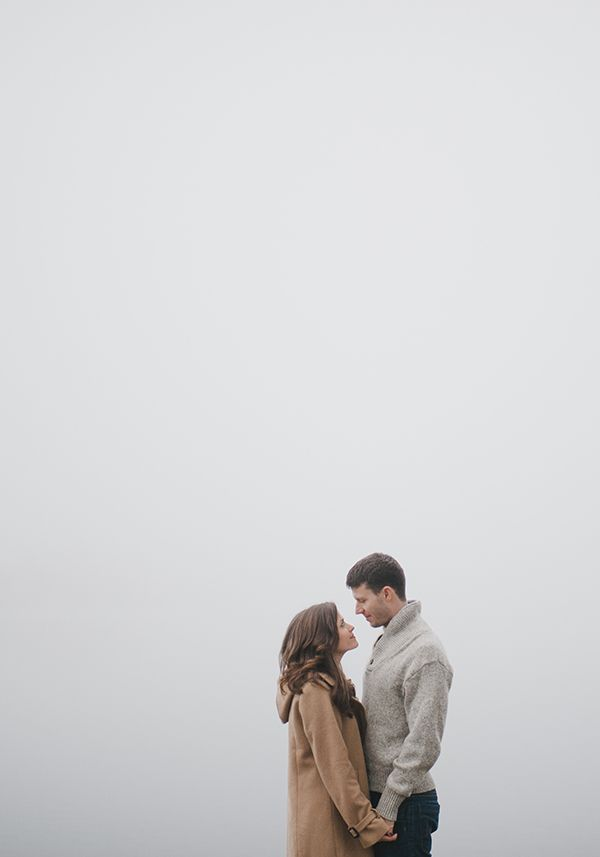 foggy engagement session, winter engagement style, blanket, engagement at the docks
