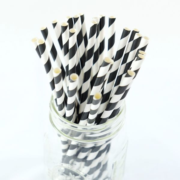 Black and White Stripe Paper Straws – Simply Confetti