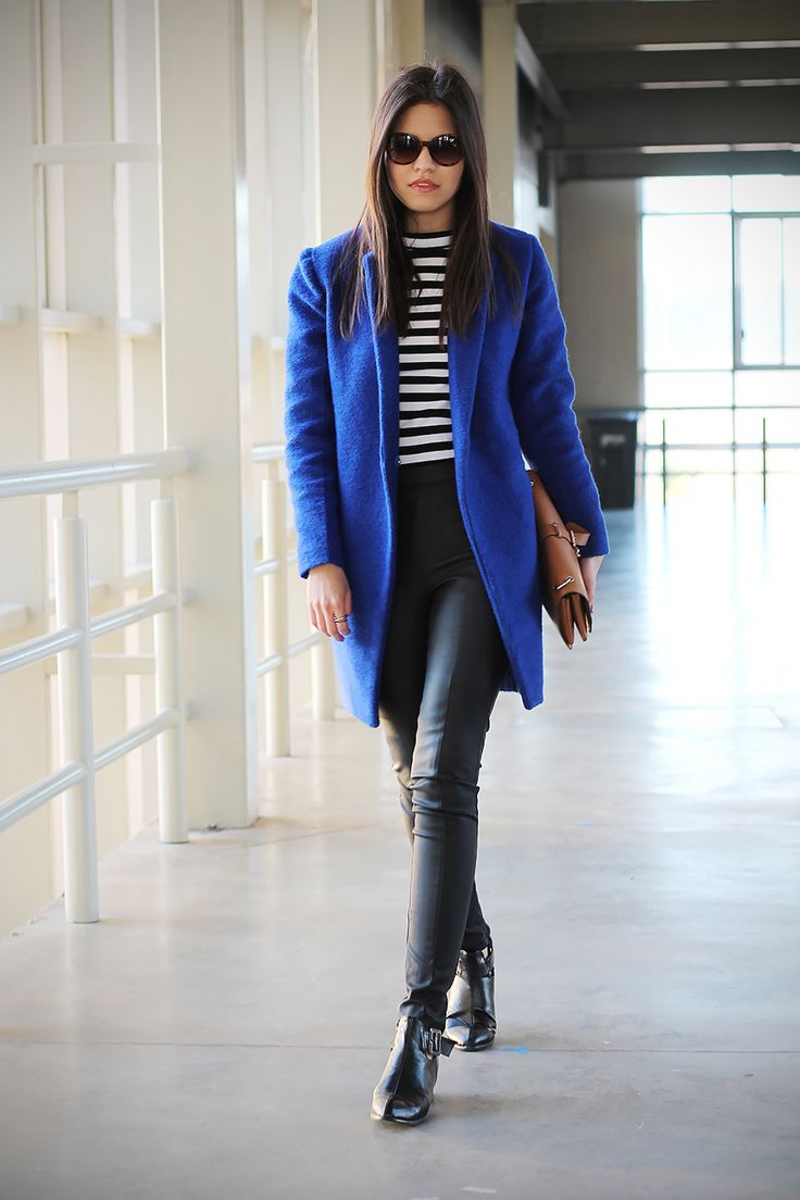 royal blue coat + leather pants + boots