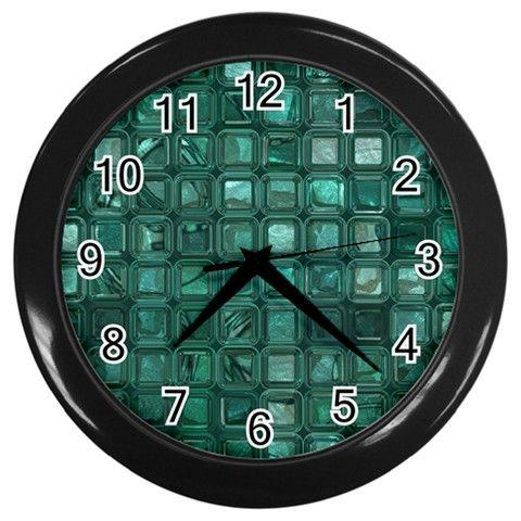 Glossy+Tiles,teal+Wall+Clocks+(Black)+Wall+Clock+(Black)