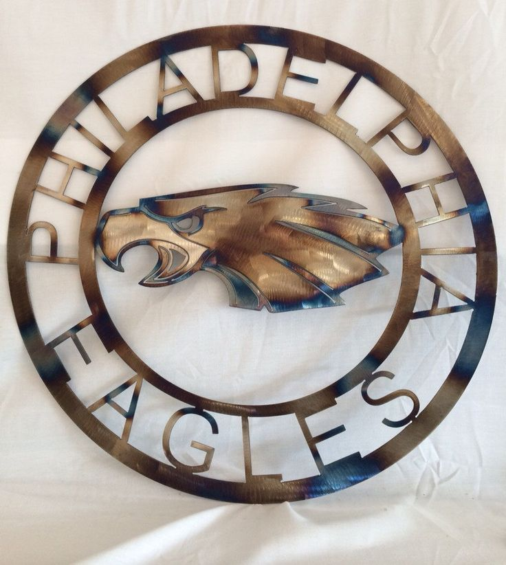NfL Philadelphia eagles wall art with torched finish man cave hanging football team spirit