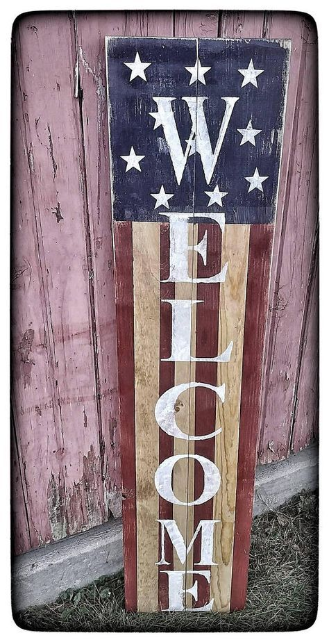"""What could be a better way to welcome visitors and decorate your porch than a beautiful, rustic welcome sign? Our rustic, distressed sign is handpainted and measures 10"""" x 48"""". It is the perfect height to display beside your door and can add to your primitive Americana or"""