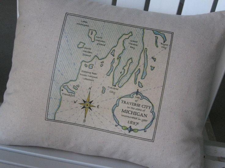 Traverse City Michigan Vintage Maps Blue Pillows by AbundantHaven