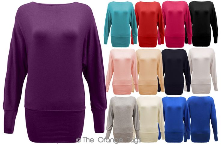 WOMENS PLUS SIZE BATWING TOP PLAIN LONG SLEEVE LADIES OFF SHOULDER TSHIRT 8-20 in Clothes, Shoes & Accessories, Women's Clothing, Tops & Shirts | eBay