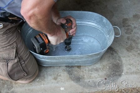 Galvanized Tub Sink and Watering Can Faucet - Crafty Staci 9