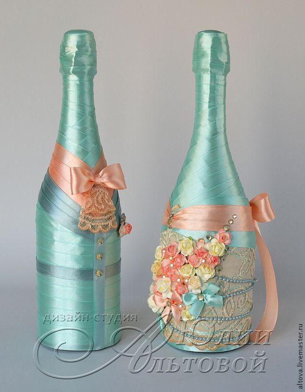 """Купить Свадебное шампанское """"Персик, мята, винтаж... - свадебное шампанское, шампанское на свадьбу, шампанское свадебное"""