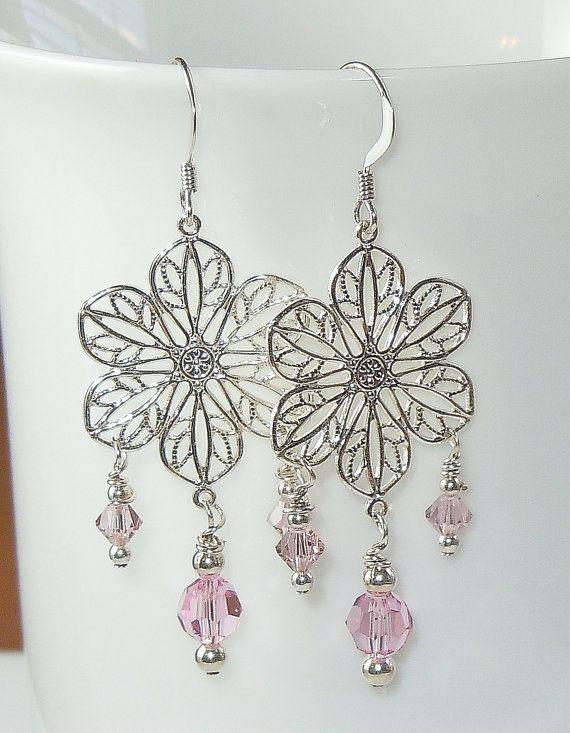 Swarovski Crystal Earrings in Light Rose Pink by BestBuyDesigns
