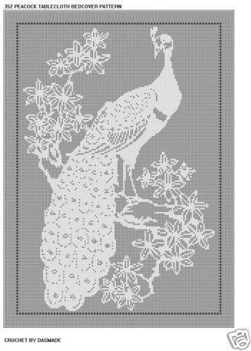 PEACOCK TABLECLOTH BEDSPREAD FILET CROCHET PATTERN #352 | CROCHETBYDASMADE - Patterns on ArtFire