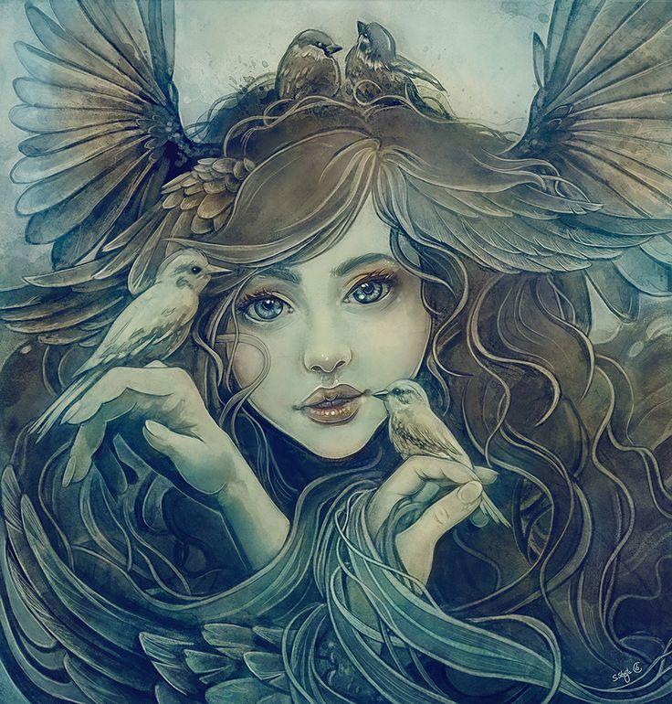 fantasy portrait bird druid `flock of birds`by Sylvia Strijk