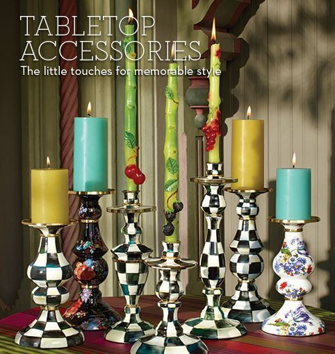 MacKenzie-Childs - Tabletop Accessories - Love the candlesticks!