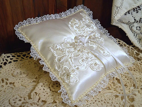 Victorian Vintage Ring Bearer Wedding Pillow by PapernLace on Etsy, $19.95