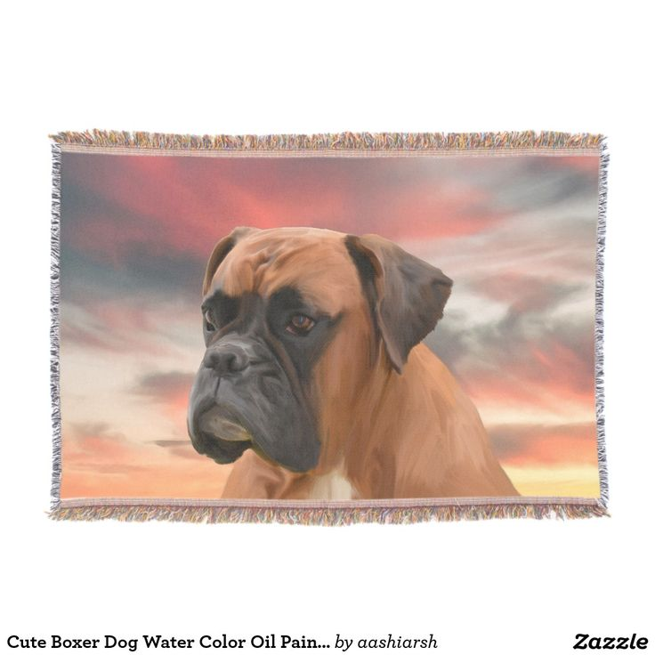 Cute #Boxer #Dog Water Color  Oil #Painting Art #Throw #Blanket #pet #christmasgiftideas #christmasgifts