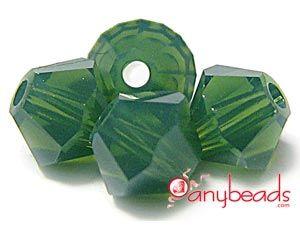 Palace Green Opal - Swarovski Crystal Elements 5328 Xilion Bead Bicones 4mm  #Swarovski #crystal #crystalbeads #5328 #bicone #5301 #beads #jewelrysupplies #anybeads