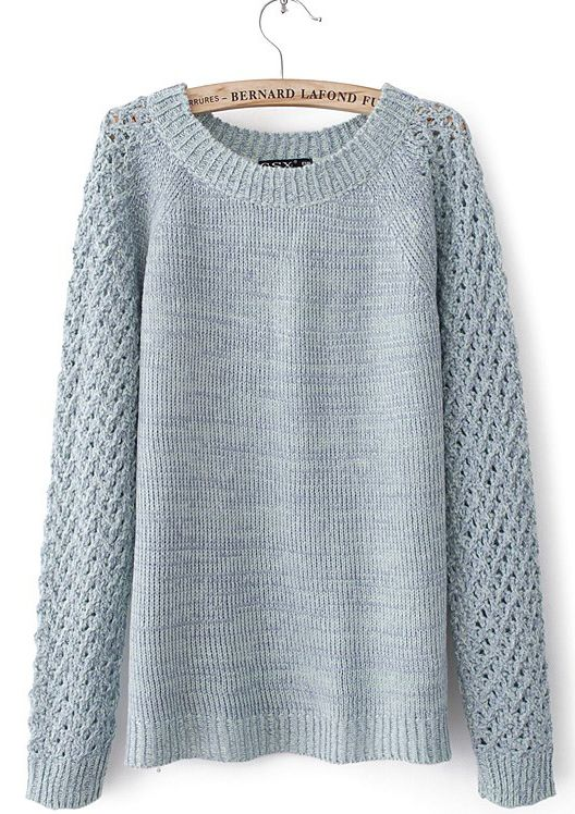 Light Blue Raglan Sleeve Waffle Open Knit Back Sweater