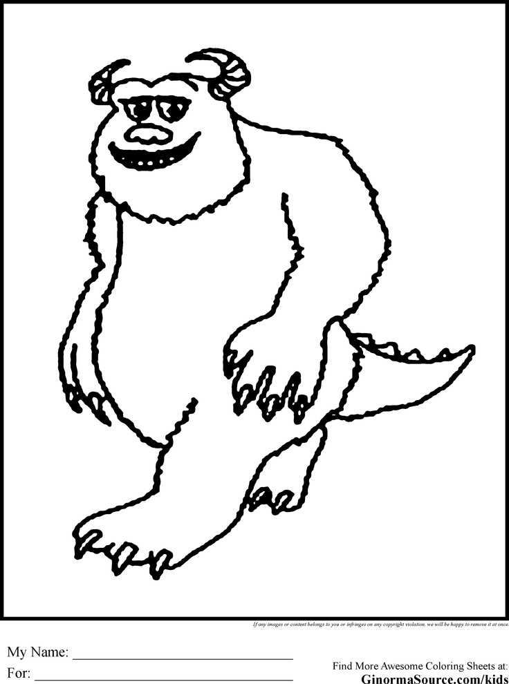 Monsters Inc Coloring Pages Sulley Coloring Pages Monsters Inc