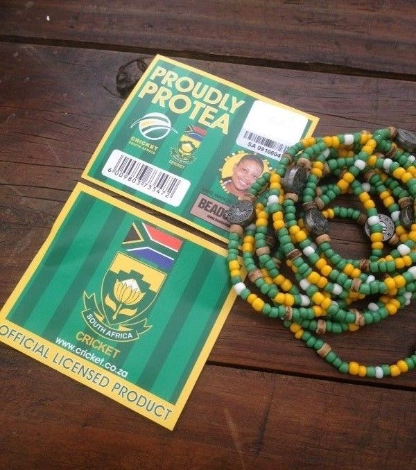 NEW : Official Cricket SA supporters bracelet. R40 each. Available online www.beadcoalition... or at selected retailers.