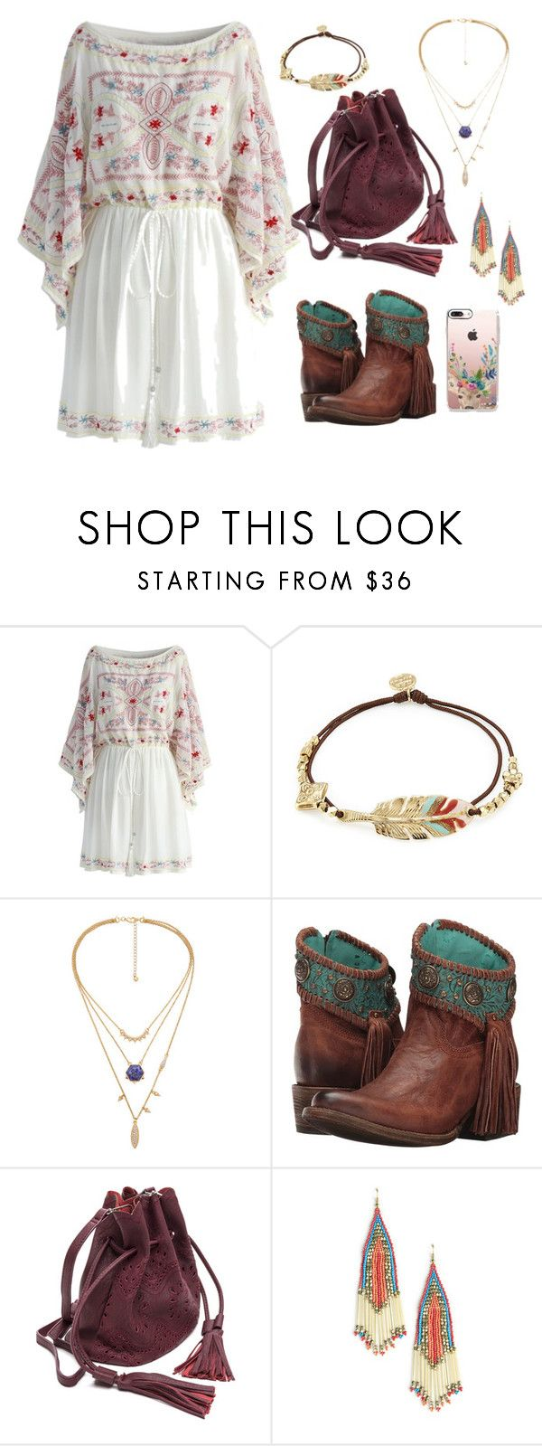 """""""boho girl"""" by groovybeauty ❤ liked on Polyvore featuring Chicwish, Gas Bijoux, Corral, Sole Society and Casetify"""