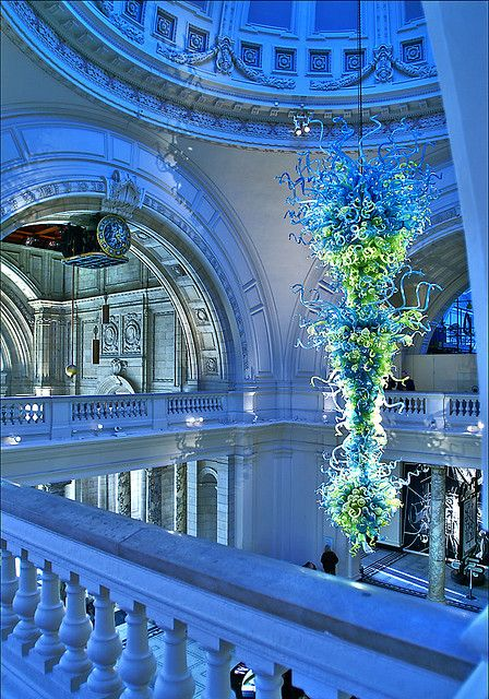 Victoria & Albert Museum, London, UK.  |  A Dale Chihuly glass sculpture hangs in the center of dome.