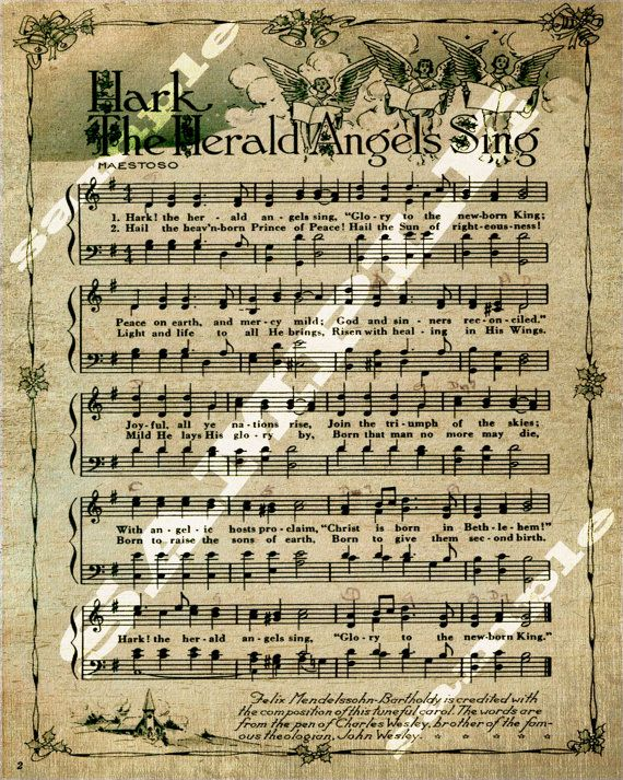 Hark The Herald Angels Sing Christmas Holiday Religious Sheet Music Printable Download Tag Sign 8x10 on Etsy, $2.17 AUD