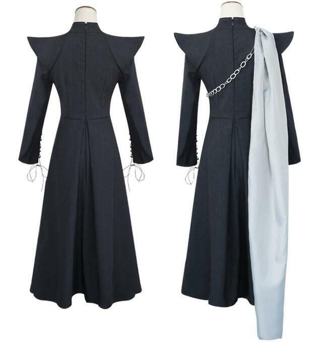 Hot Game of Thrones Season 7 Daenerys Targaryen Black Coat Skirt Cosplay Costume