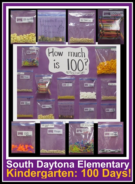 """100th Day """"Homework"""" -- fill a baggy with 100 goodies. (Article has lots of other possibilities!)"""