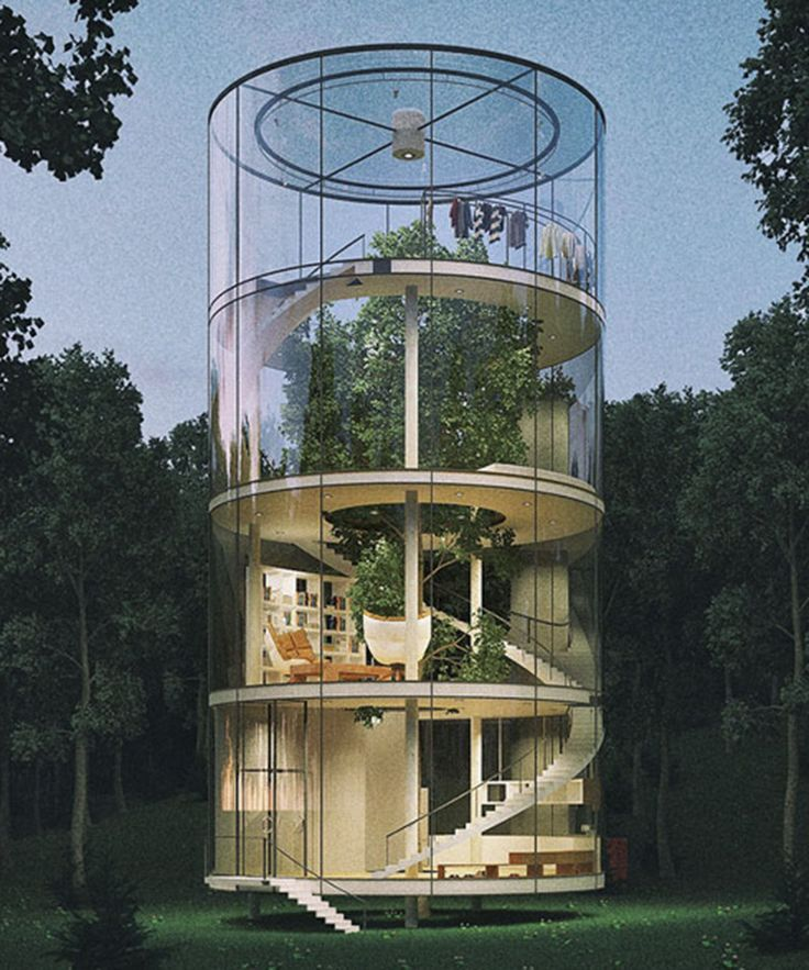 Aibek Almossov Glass Treehouse Tree In The House | Check out this post on this amazing, tubular treehouse design. #refinery29 http://www.refinery29.com/2016/03/106802/abbey-almassov-glass-treehouse