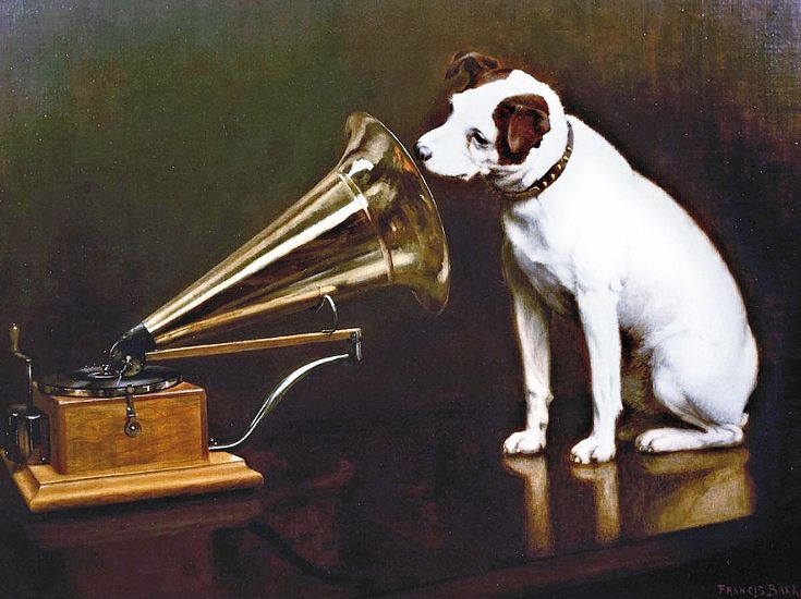 His Master's Voice /HMV - major British record label/ - Wikipedia - The logo - Dog looking at and listening to a Phonograph