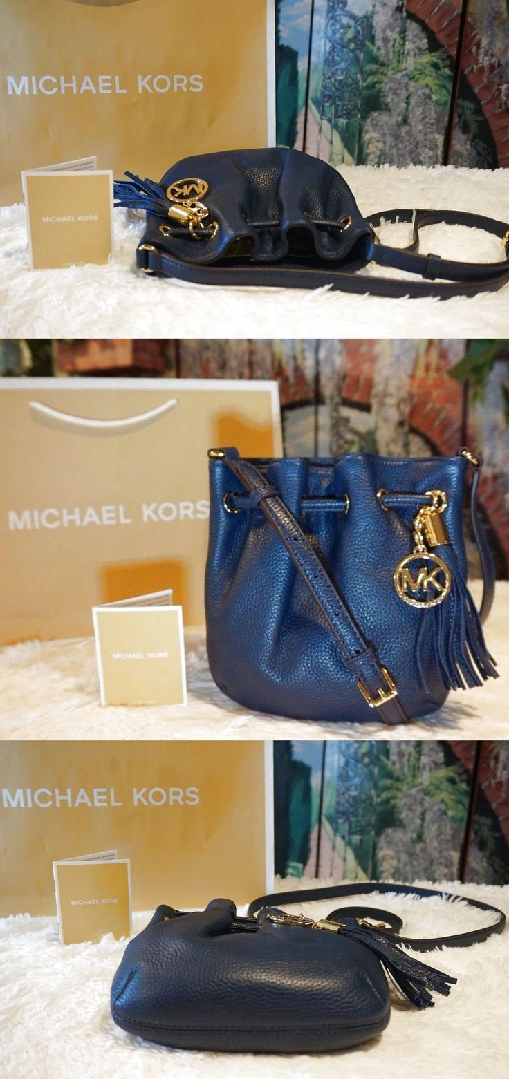 NWT Michael Kors Ring Tote Drawstring Crossbody Bag Pebbled Leather In NAVY $168 $119.95