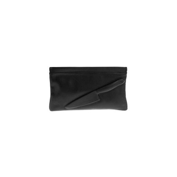 Vlieger Vandam GUARDIAN ANGEL KNIFE CLUTCH BLACK WITH SILVER CHAIN ($265) ❤ liked on Polyvore