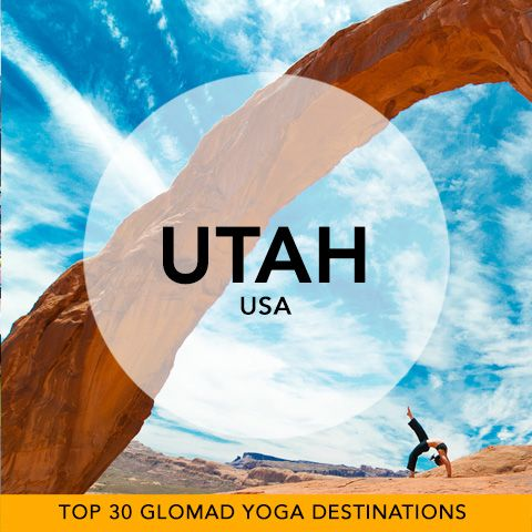 Glomad's 'Top 30 Global Yoga Destinations' No.25 – Utah, USA  Consider all the climates captured as we feature Corona Arch, Utah... it's time to take your mat outdoors. Start your search in Salt Lake City and you will discover Yoga Experiences reaching from National Parks to mountain peaks. #USA #Utah #yogatravel #glomad  Amazing Shot: 'Courtney going big under the arch' by Jim Campbell omlightphotography.com