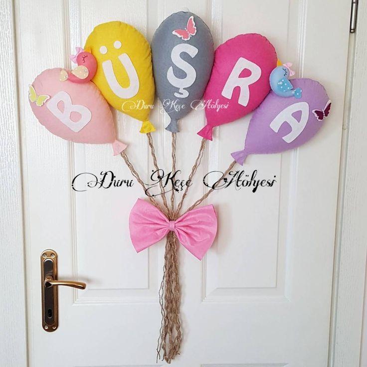 Keçe bebek odası kapı süsü balonlu kapı süsü