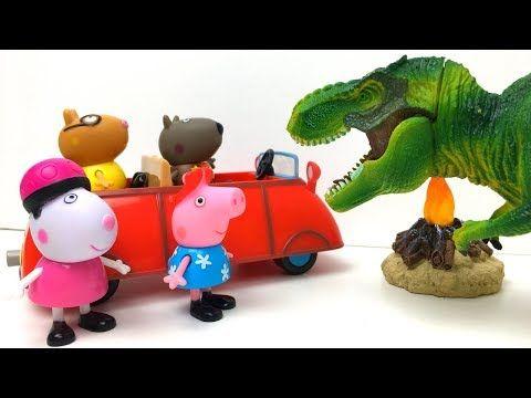 VIAJE DE PEPPA PIG Y SUS AMIGOS EN SU PEQUENO COCHE ROJO DE CAMPING EN EL BOSQUE…